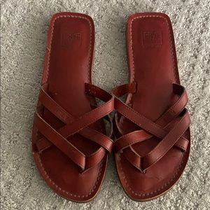 Vintage Frye - Leather cross strap slip on sandals